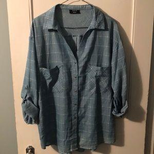 Plaid chambray shirt